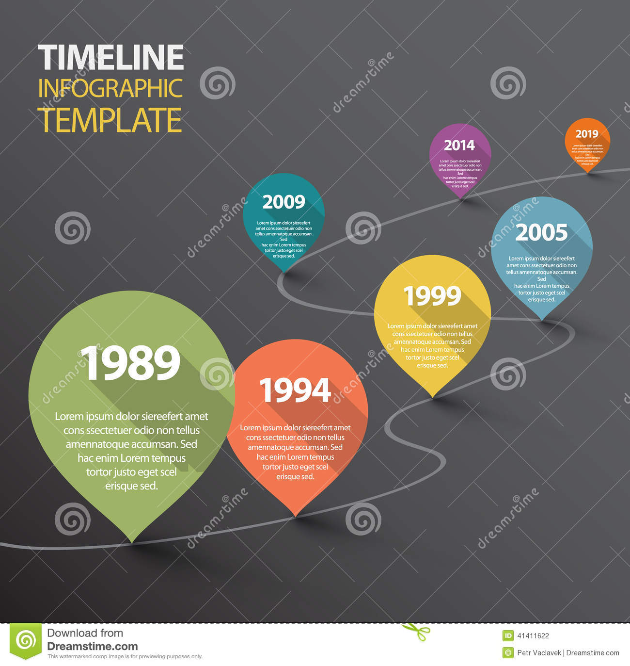 infographic dark timeline template with pointers stock vector