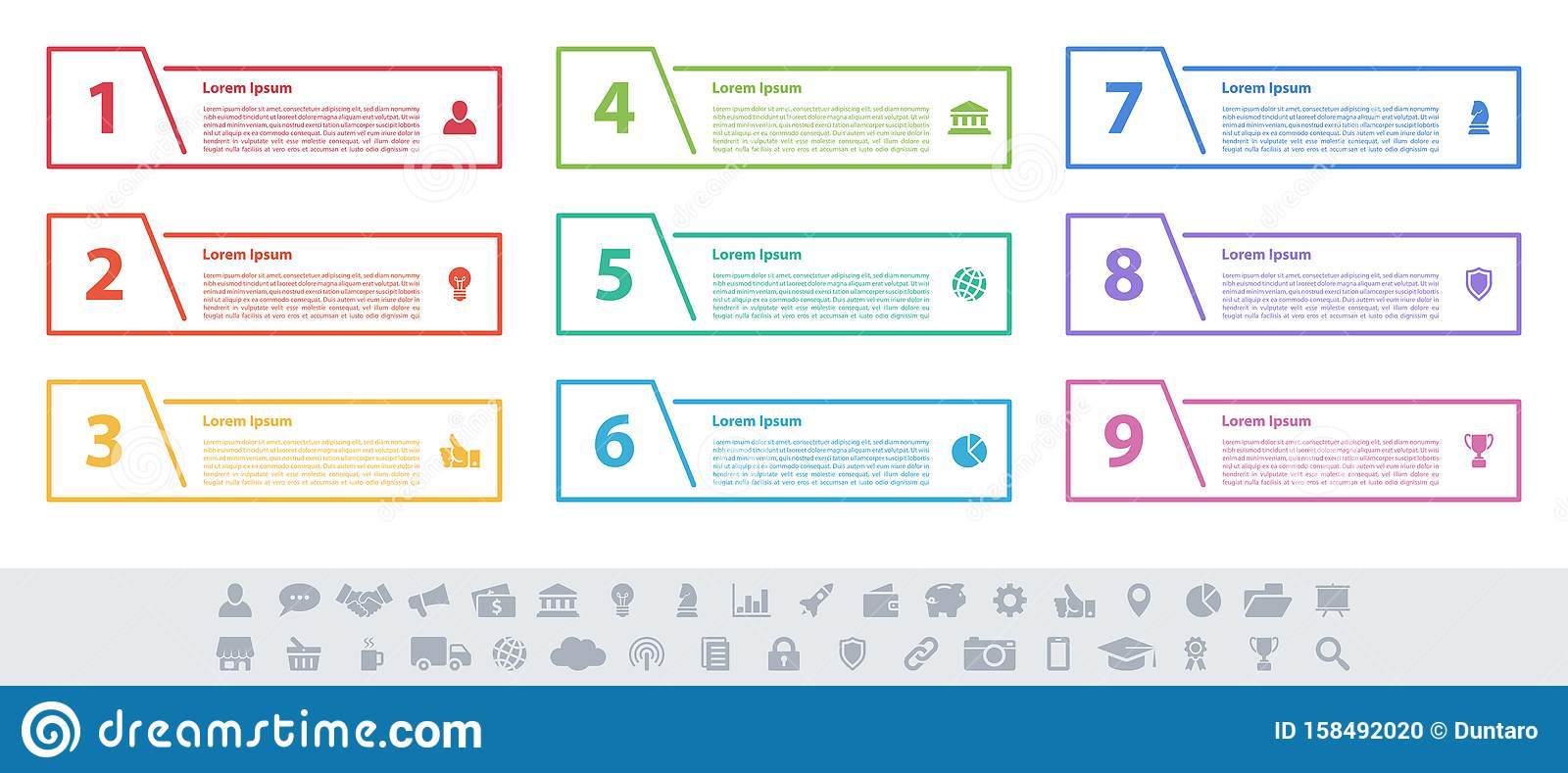 Infographic design business concept with 9 steps