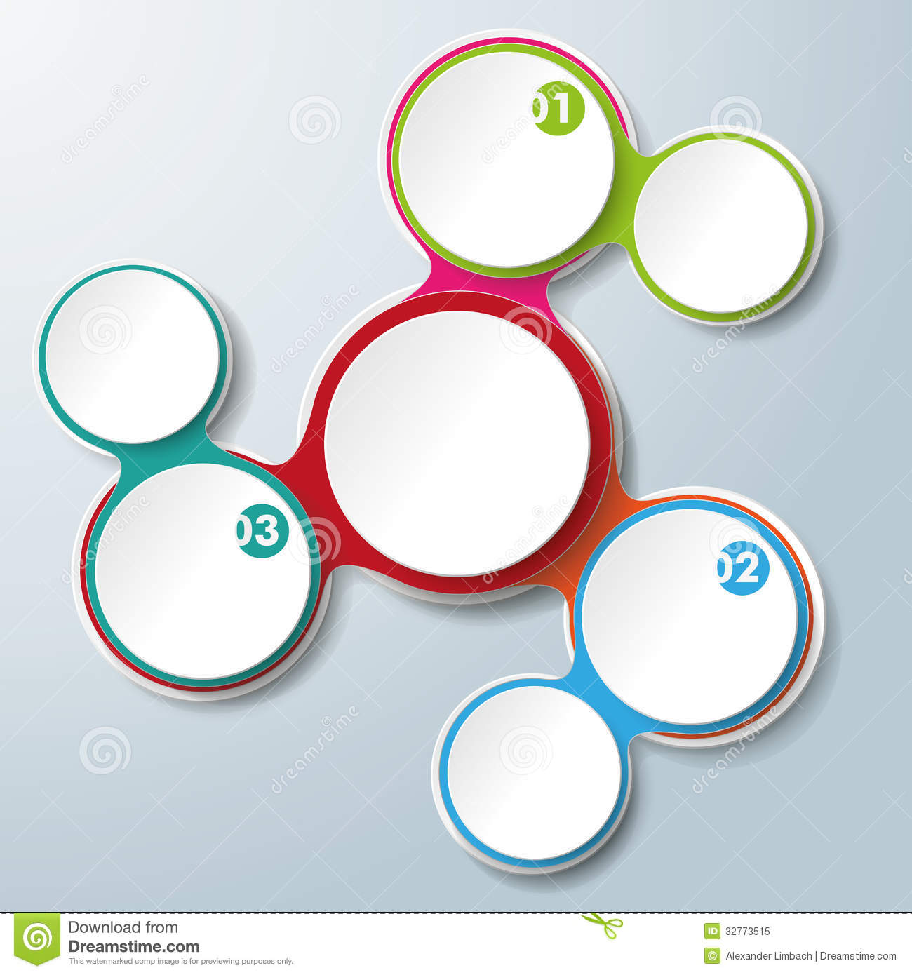 Infographic design on the grey background eps 10 vector file - Infographic Design Colored Chains White Circles 3 Options
