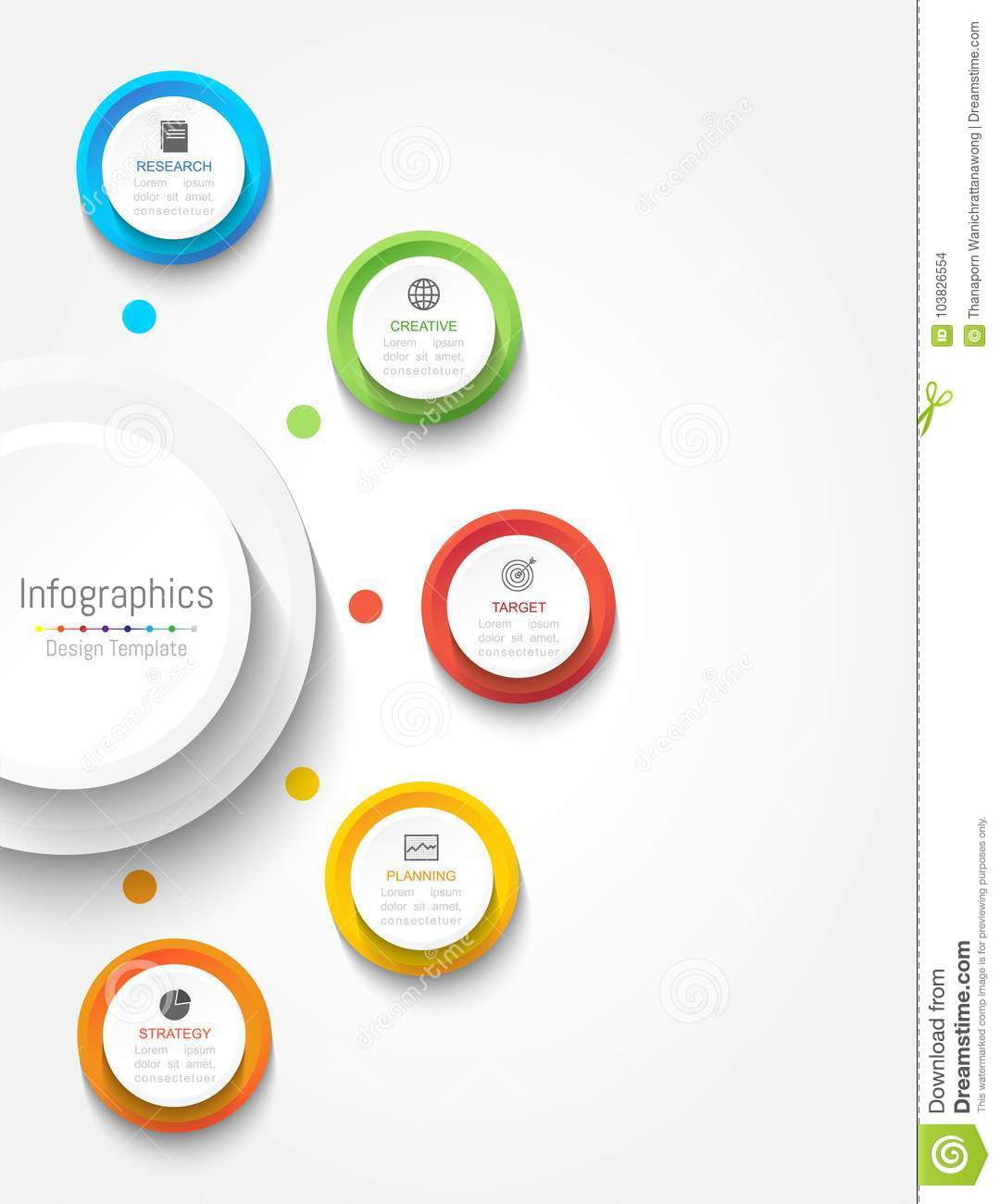 Infographic design elements for your business data with 5 options, parts, steps, timelines or processes. Circle round concept.