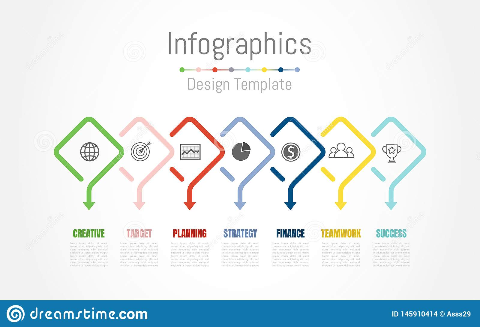 Infographic design elements for your business data with 7 options, parts, steps, timelines or processes. Vector