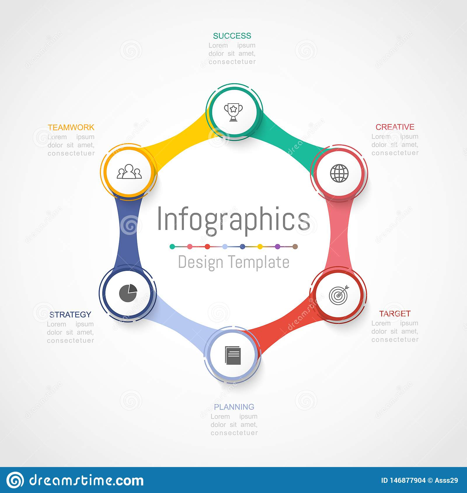 Infographic design elements for your business data with 6 options, parts, steps, timelines or processes. Vector