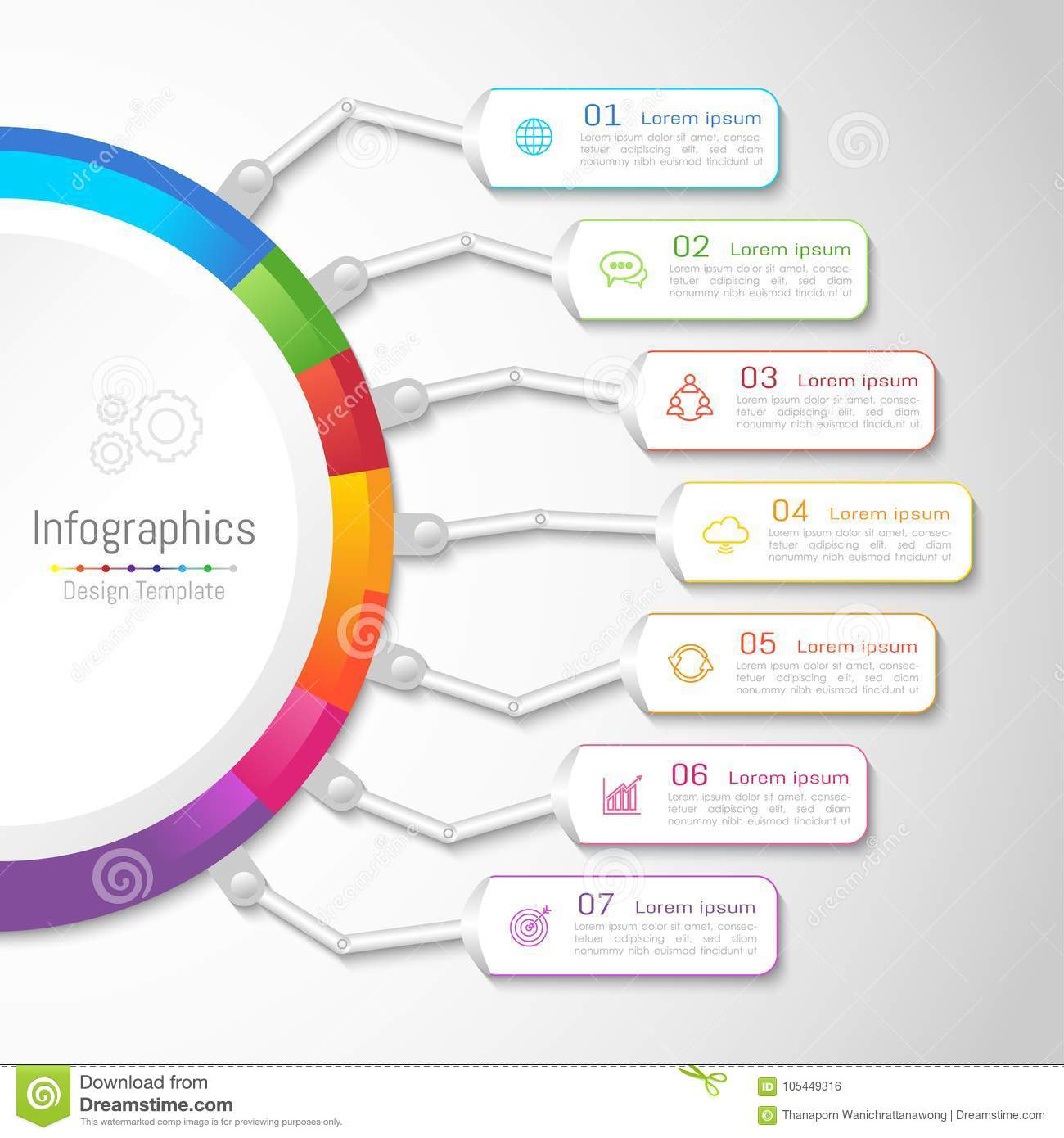 Infographic design elements for your business with 7 options.