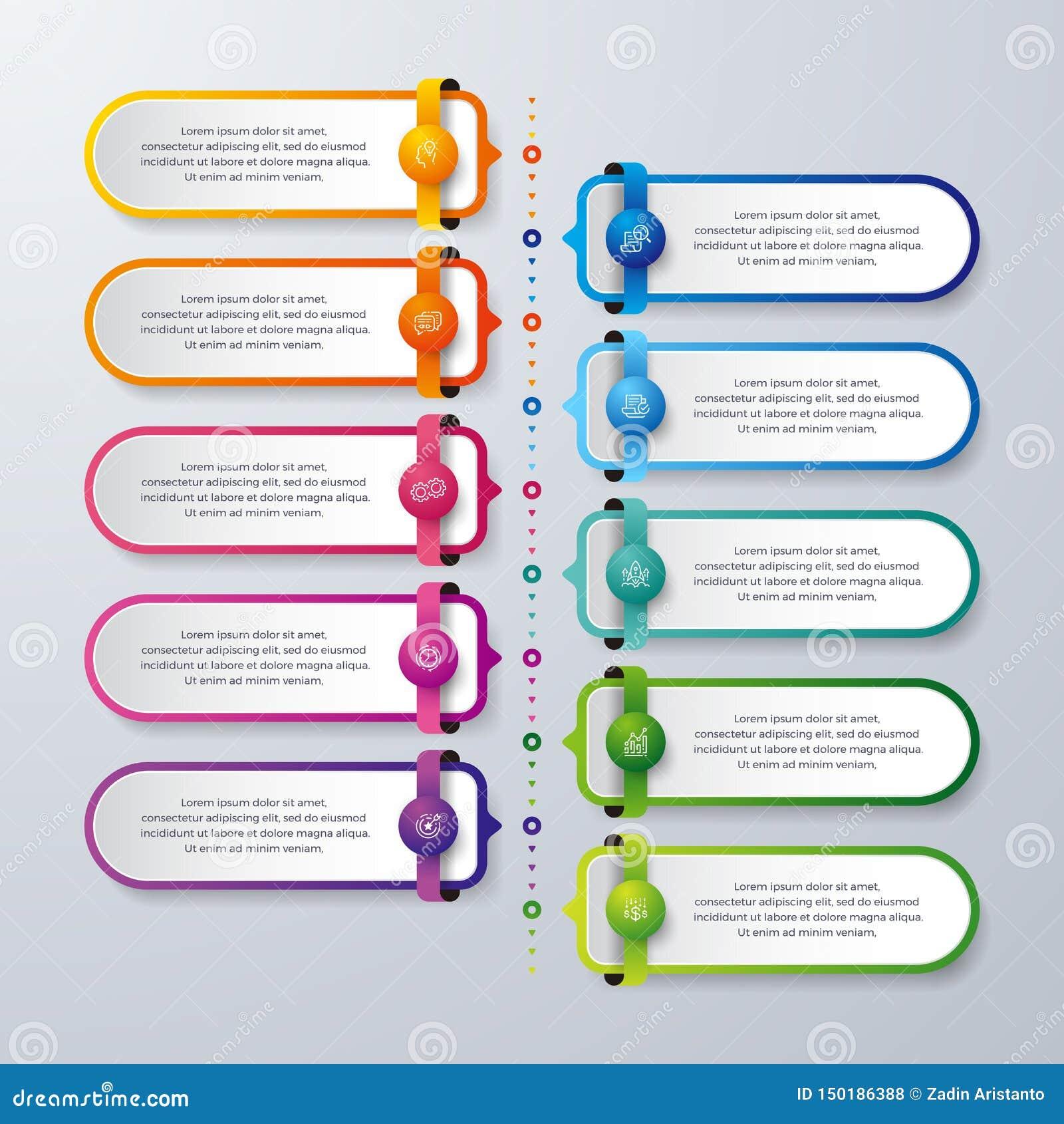 Infographic design med 10 process eller moment Infographic för diagrammet, rapport, workflow och mer Infographic med modernt och