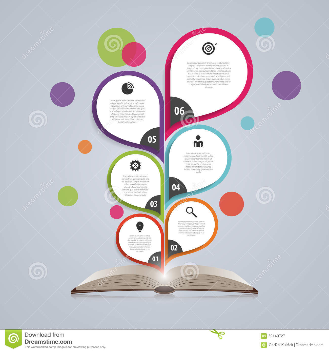 Infographic Design Template With Book. Abstract Tree ...