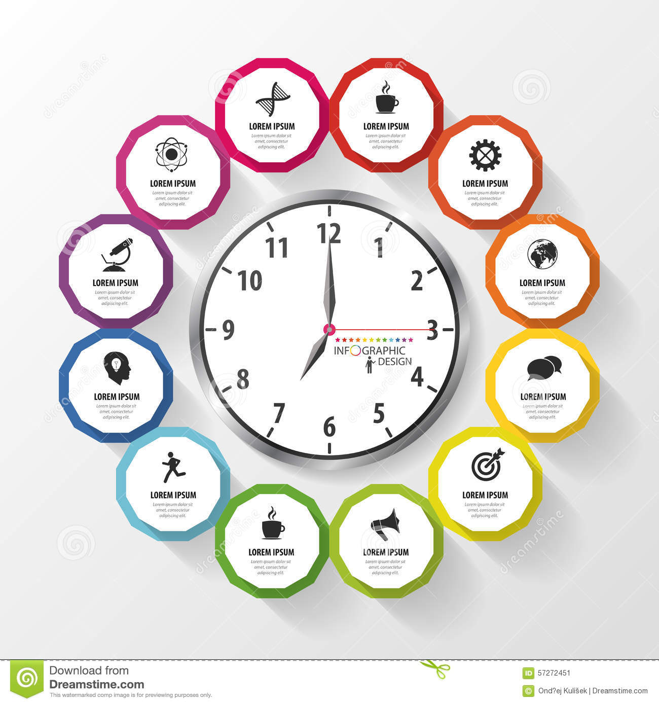 Infographic Design Template. Business Plan. Modern Clock. Vector ...