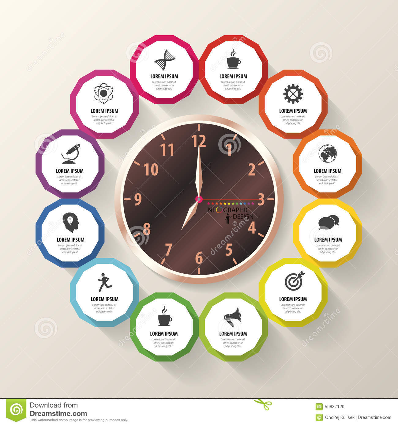 infographic design template business plan modern clock vector stock vector image 59837120. Black Bedroom Furniture Sets. Home Design Ideas