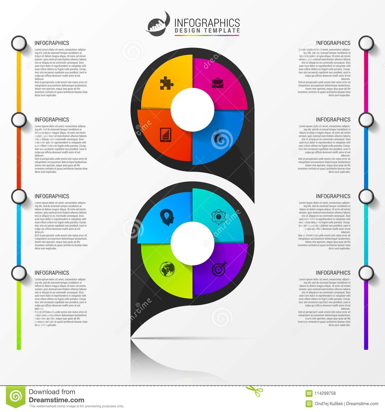 Infographic Design Template Organization Chart With 8 Steps Stock