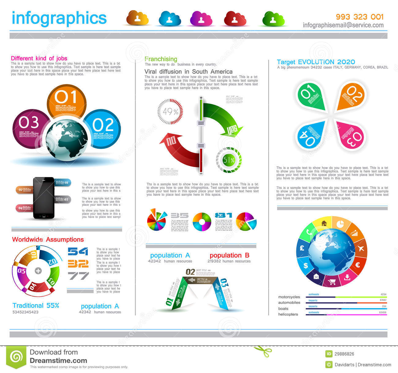 Infographic Design Template With Cloud Concept Stock Vector ...