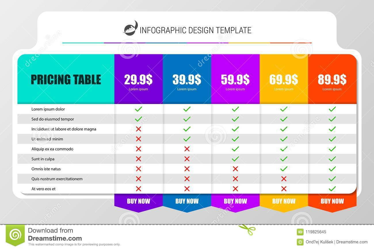 infographic design template. pricing table concept. vector stock
