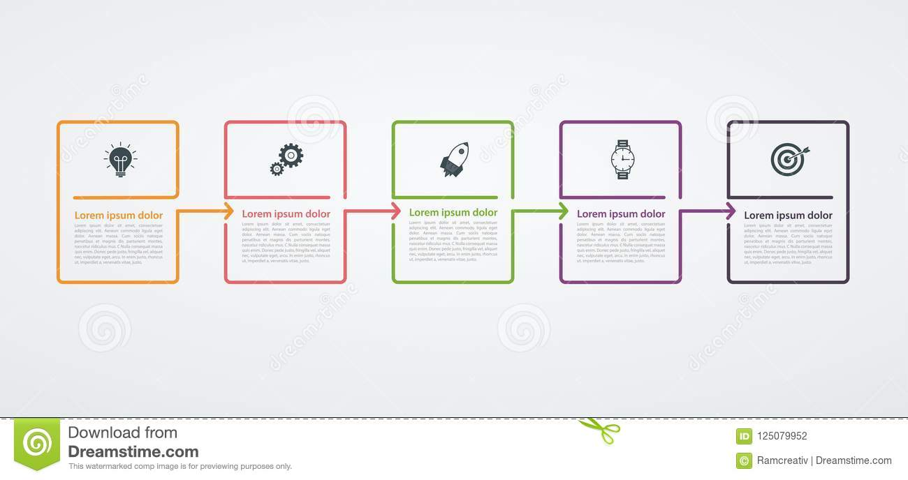 Infographic design template with step structure. Business concept with 5  options pieces or steps. Block diagram, information graph, presentations  banner, ...
