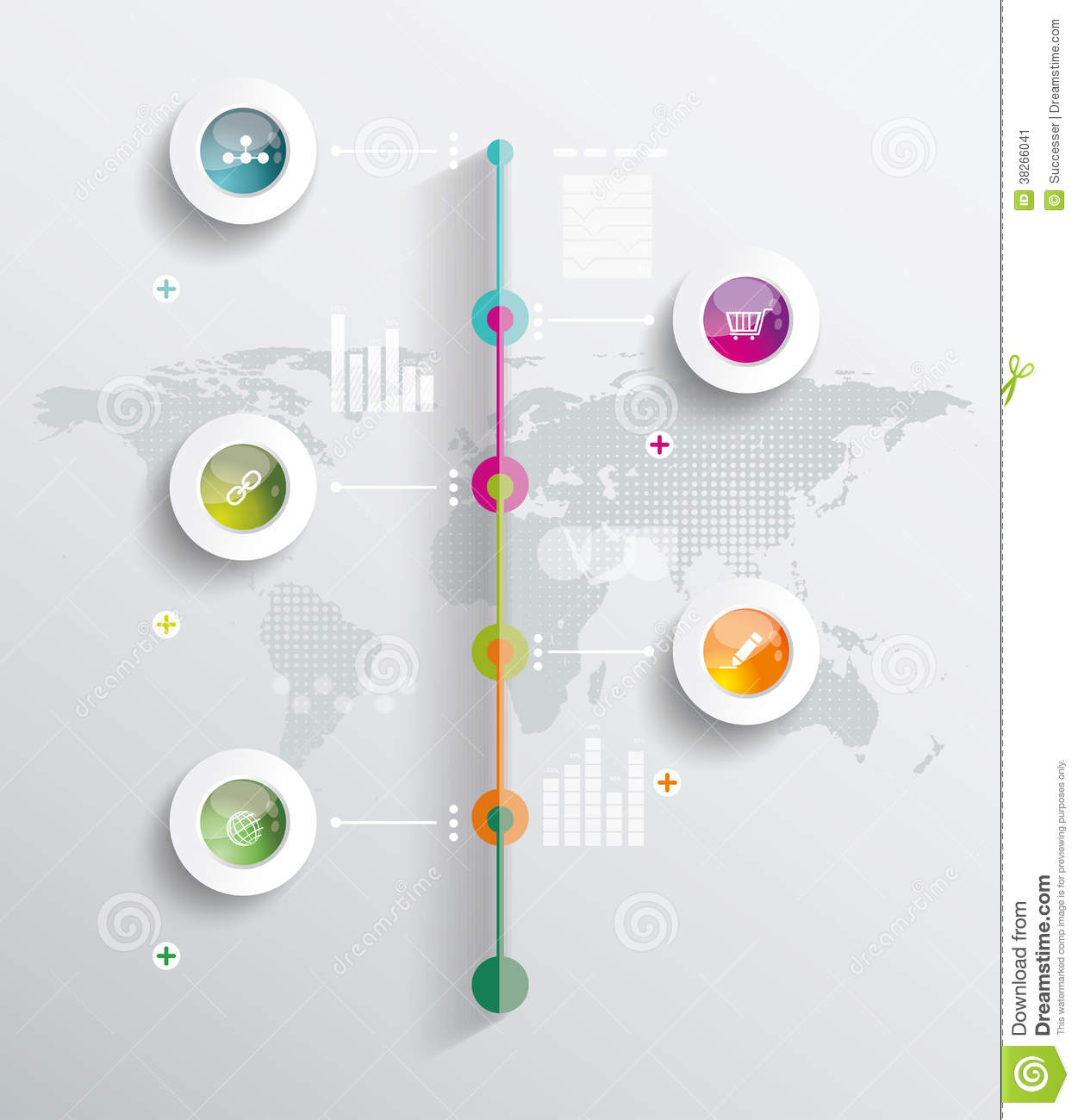 Map Design Website Template: Infographic Design Template With World Map Stock Image