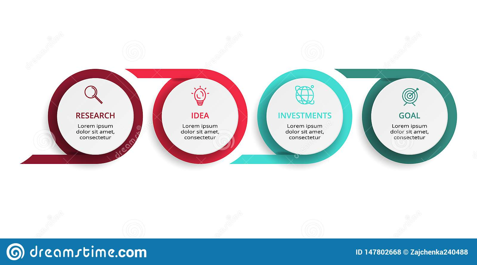 Infographic design vector and marketing icons for diagram, graph, presentation and round chart. Concept with 4 options