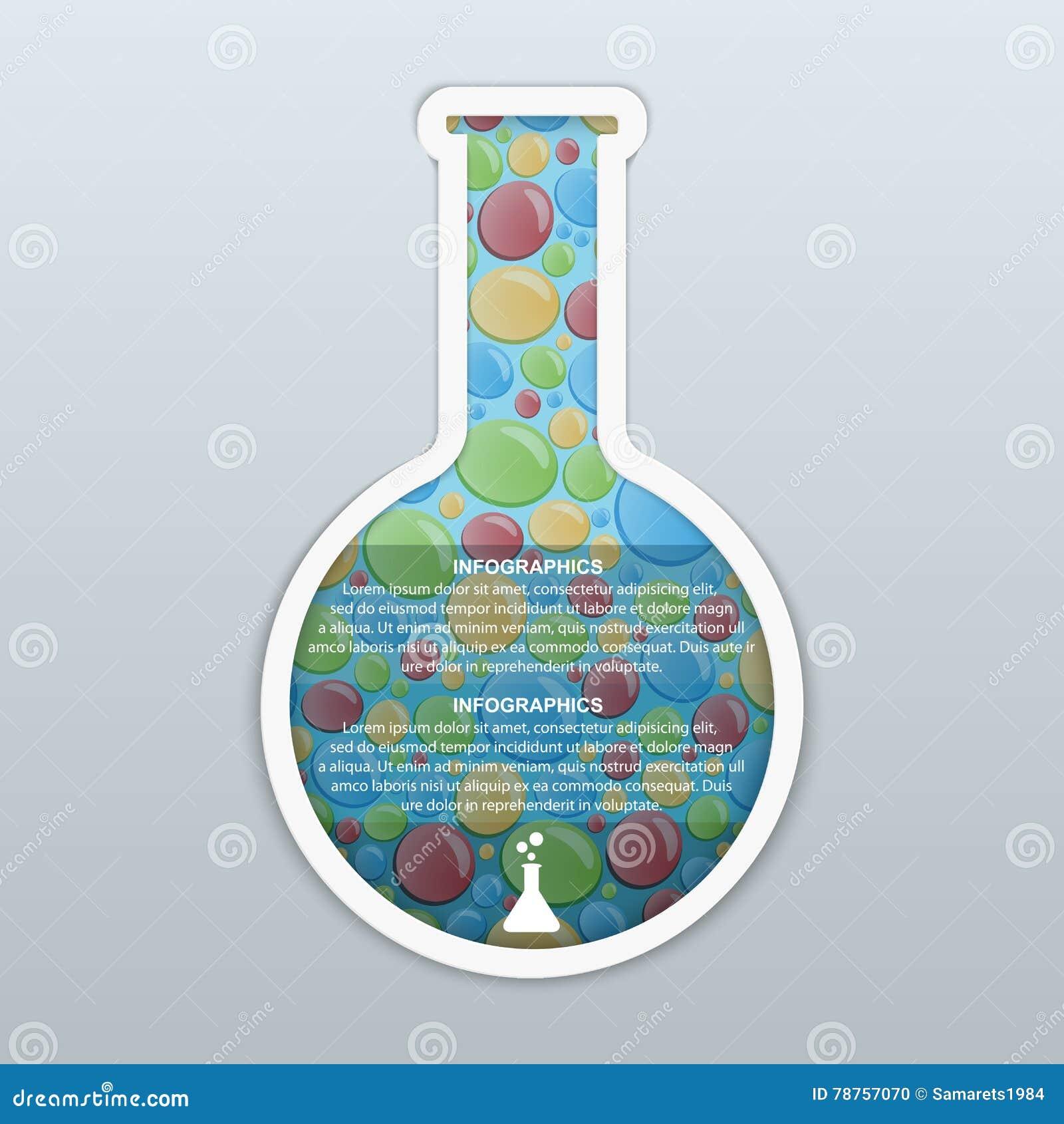 Infographic designbegrepp för kemikalie och för vetenskap