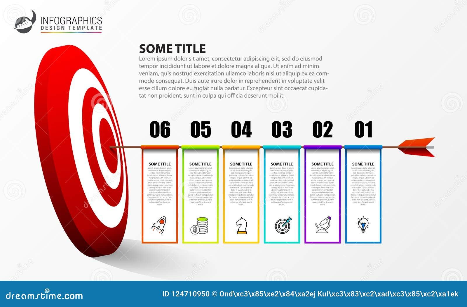 Infographic designmall Idérikt begrepp med 6 moment