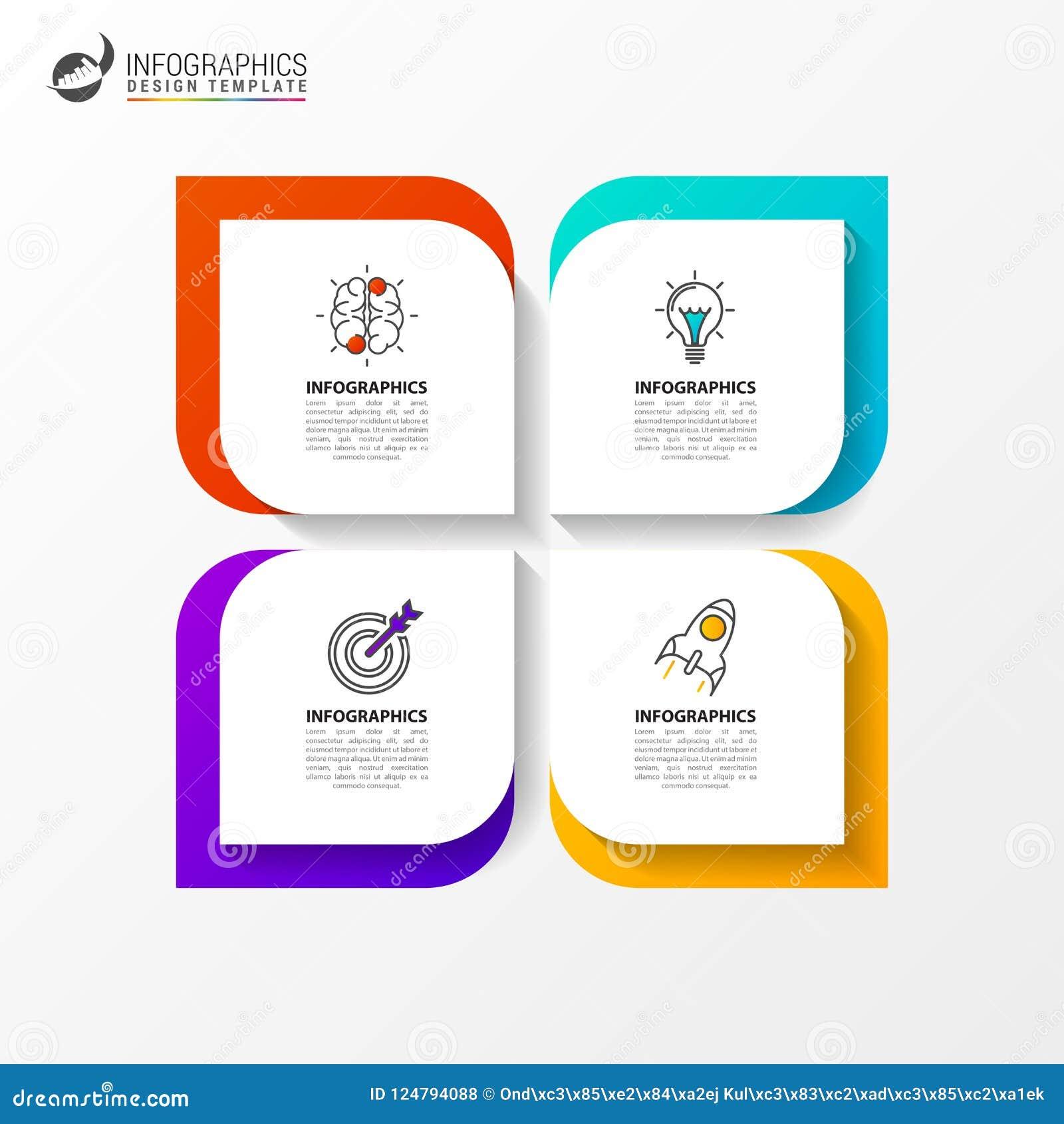 Infographic designmall Idérikt begrepp med 4 moment