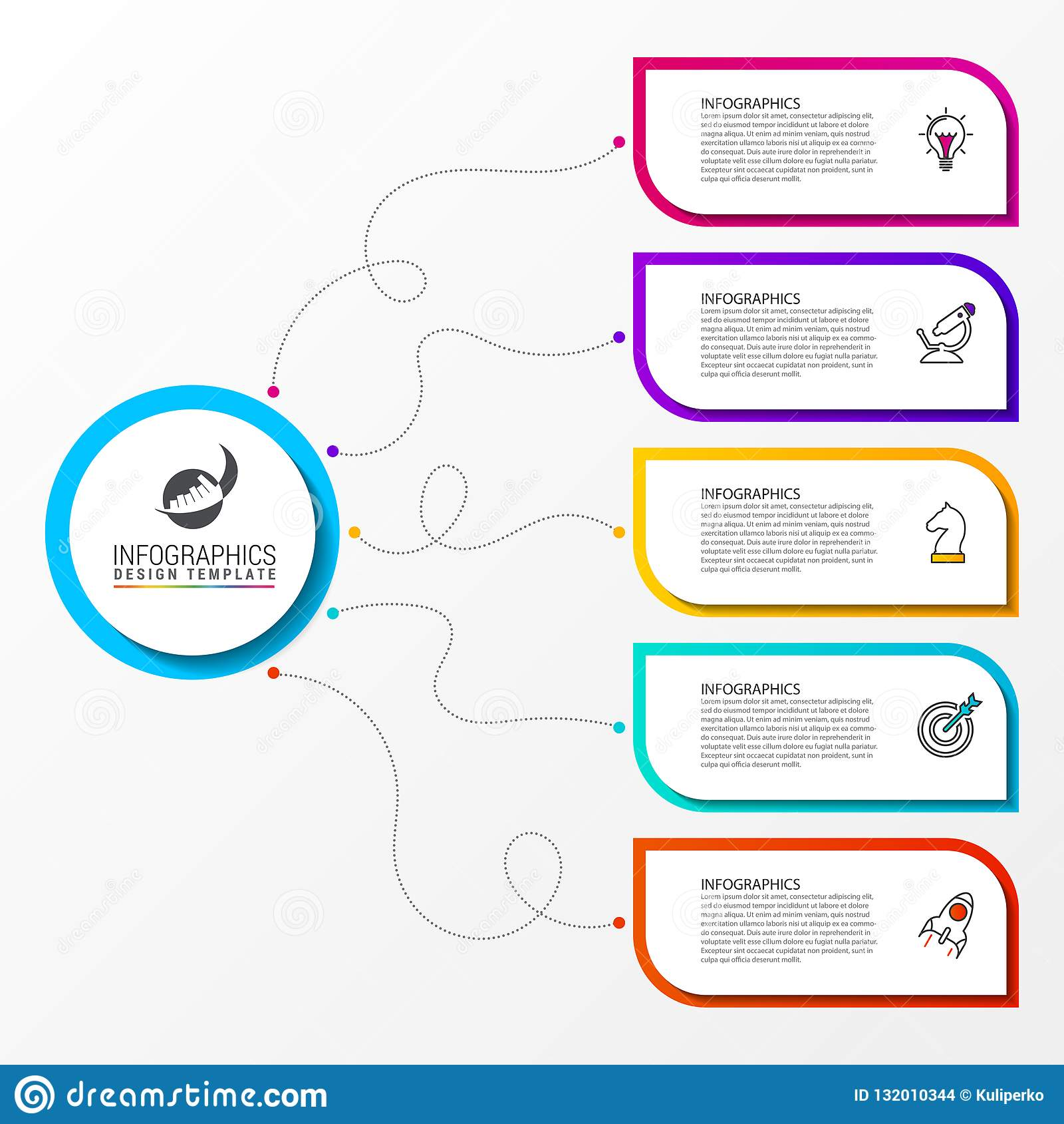 Infographic designmall Idérikt begrepp med 5 moment