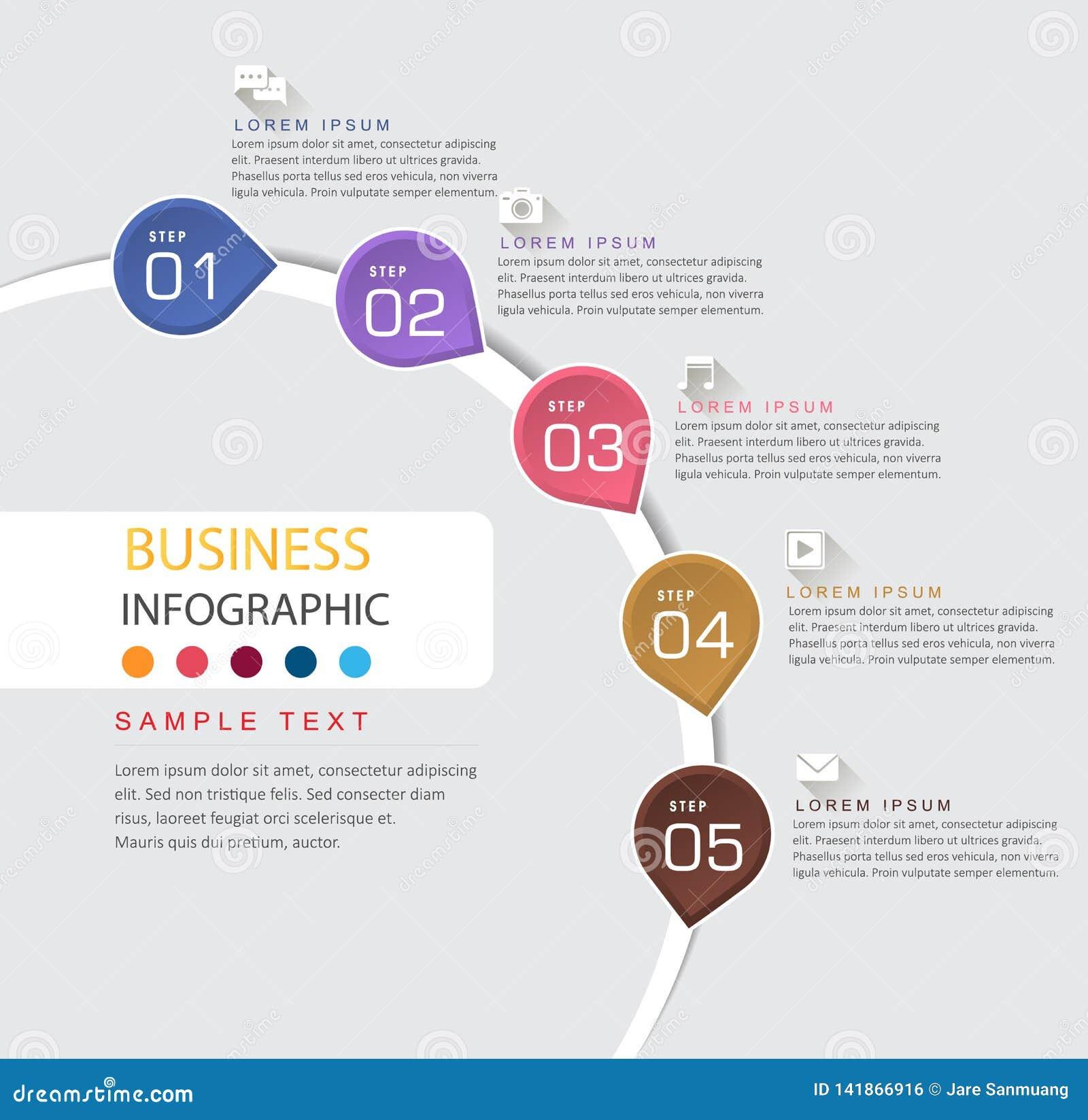 Infographic designmall och affärstimeline med 5 alternativ
