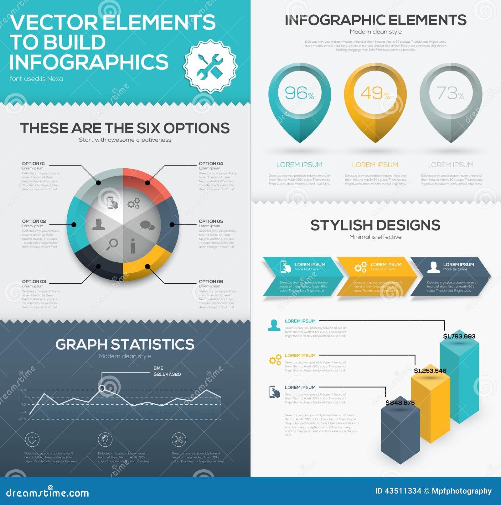 Infographic Diagrammelemente des Vektors zur Sichtbarmachung der kommerziellen Daten