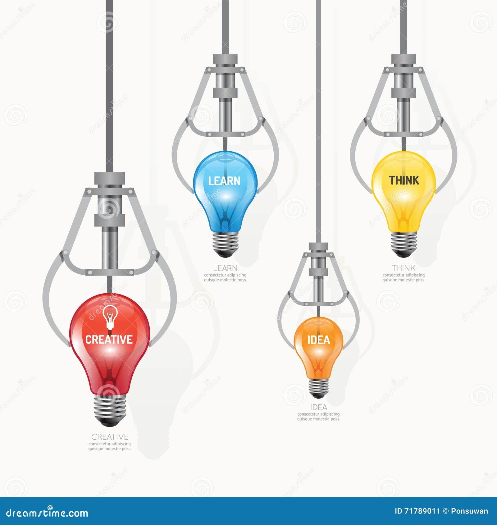 Infographic Education Claw Game With Lightbulb Template Design Vector Idea Light Bulb For Creative Diagram Cartoon 71789011