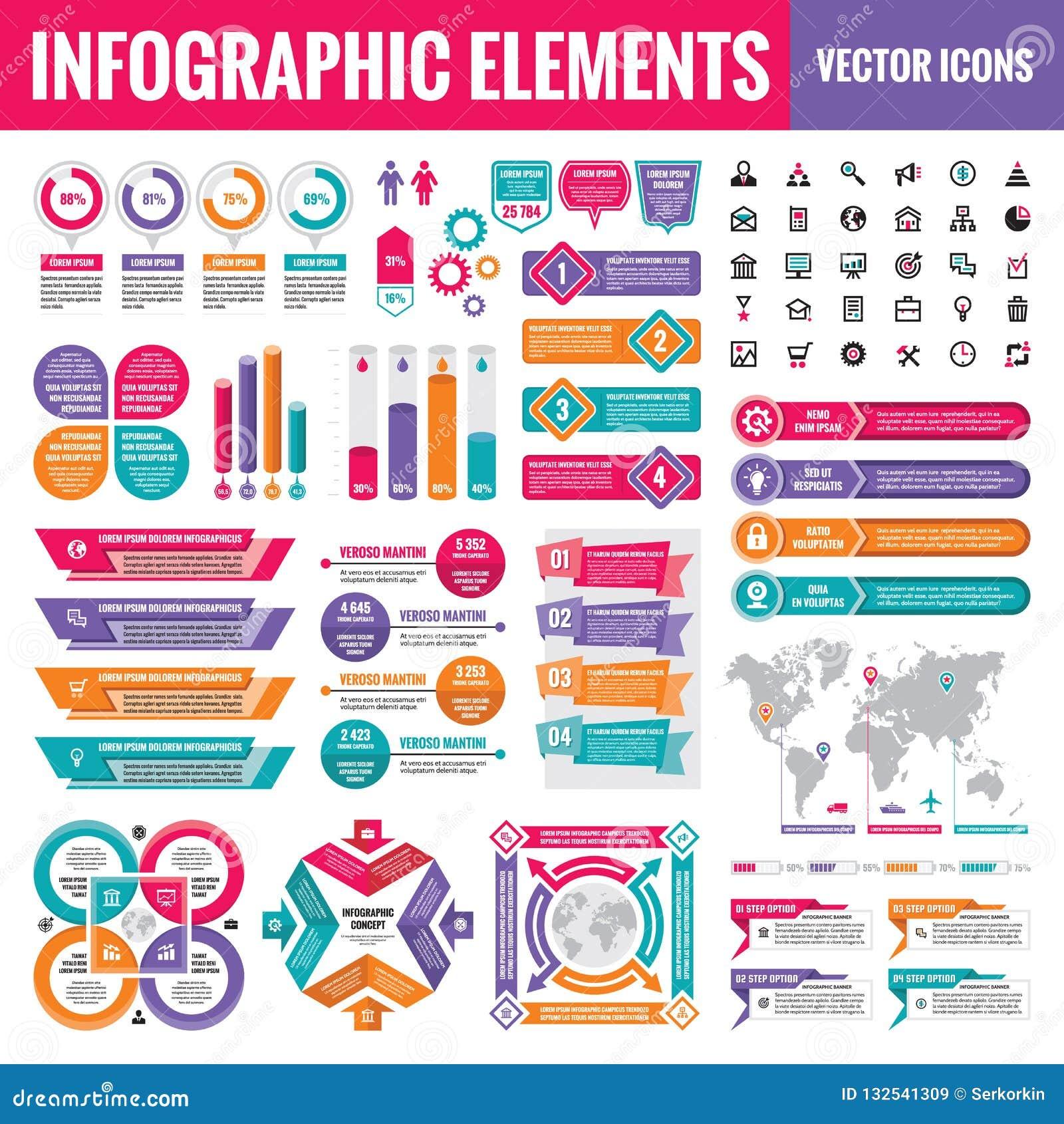 Infographic elementów szablonu kolekcja - biznesowa wektorowa ilustracja w płaskim projekta stylu dla prezentacji, broszura, stro