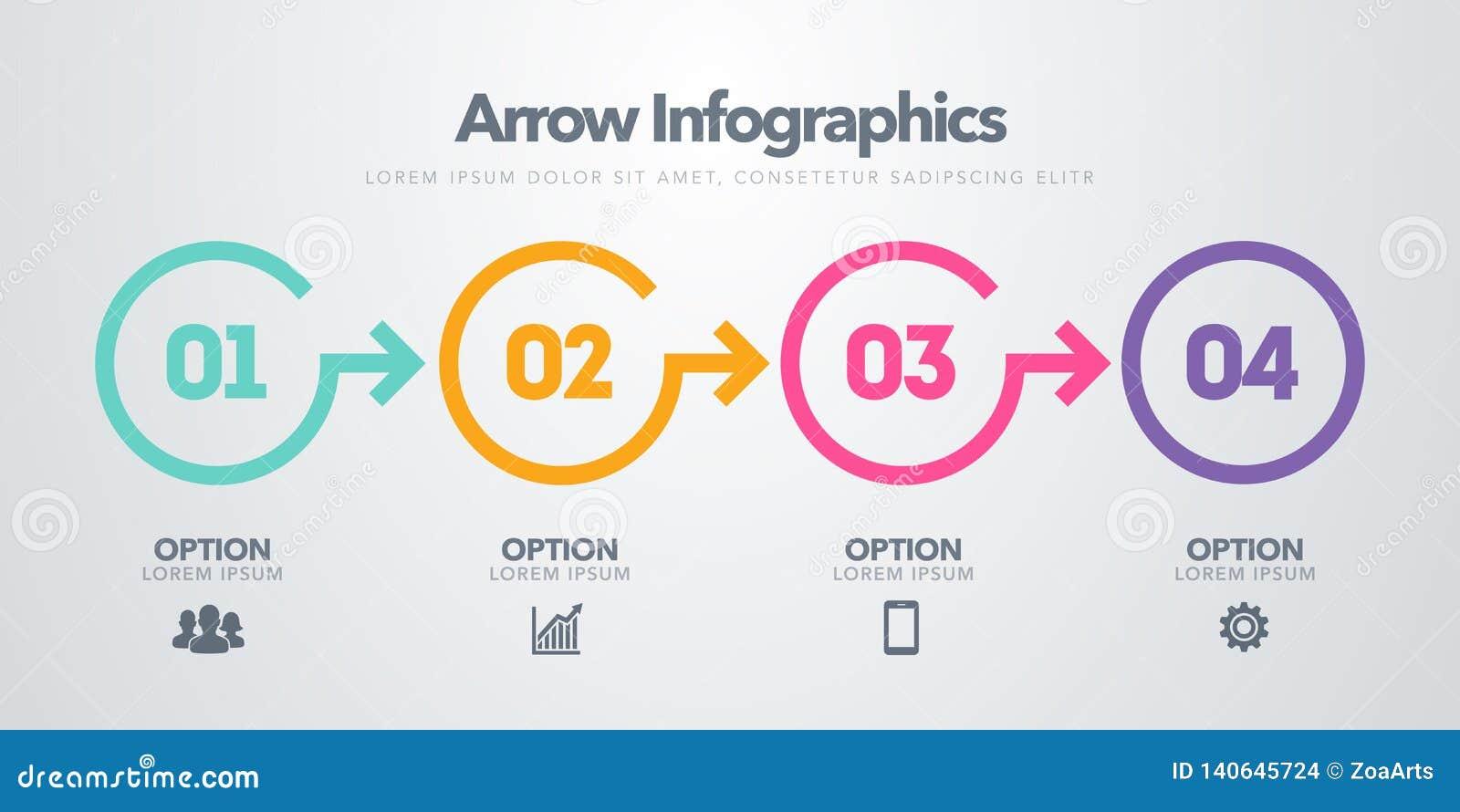 Infographic Element des Vektorgeschäfts Zeitachse mit 4 Kreisen, Schritte, Zahlwahlen