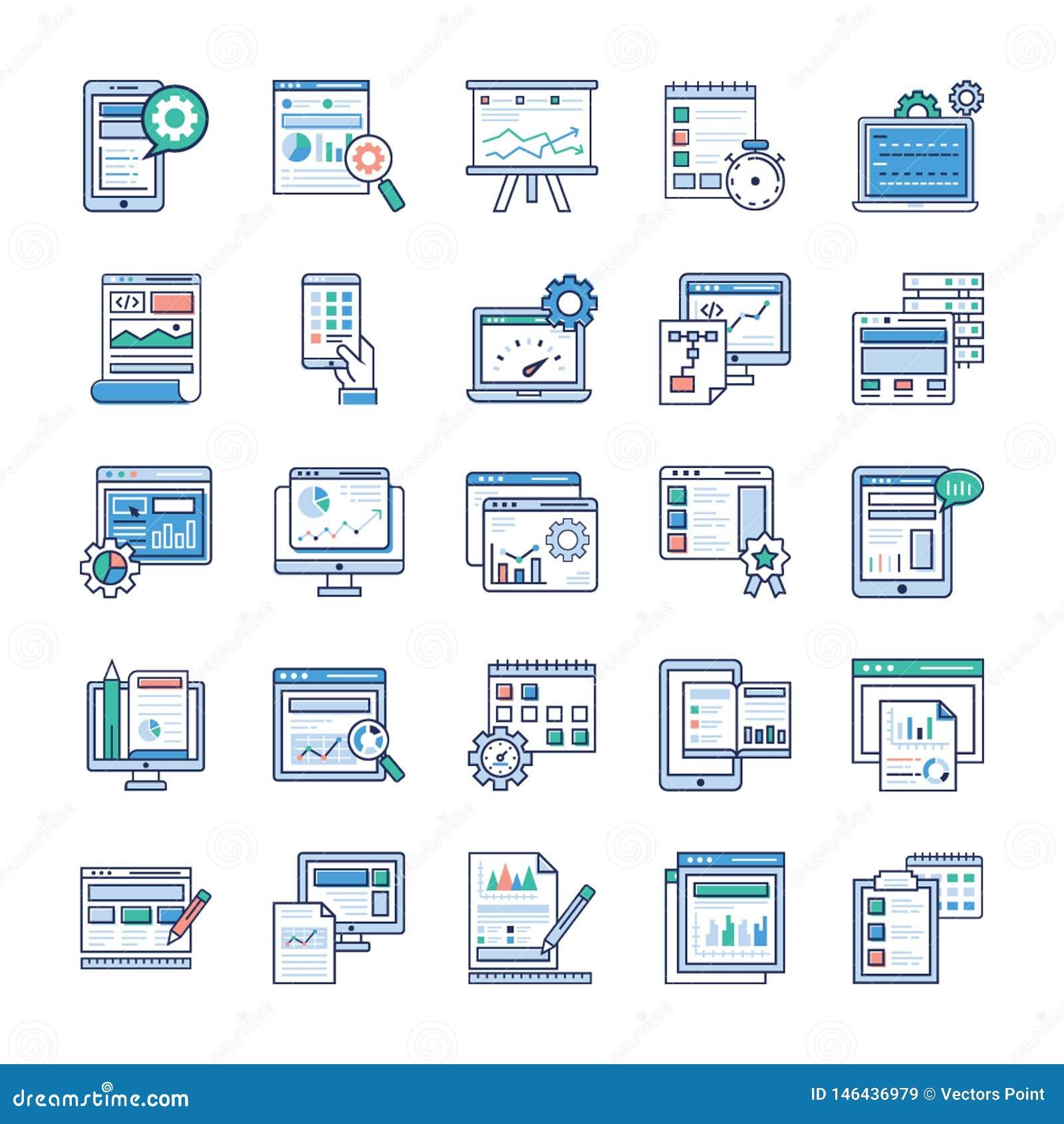 Infographic Elements Flat Vectors Set