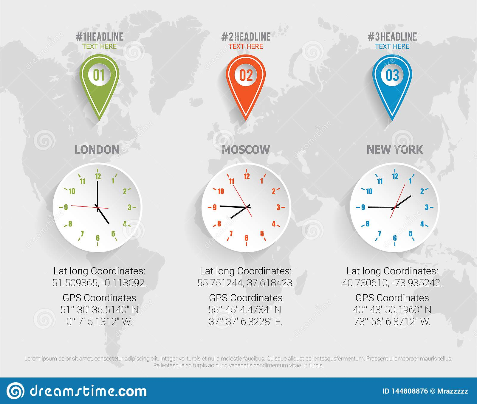 World Map Clock With Gps Latitude And Longitude Coordinates Vector
