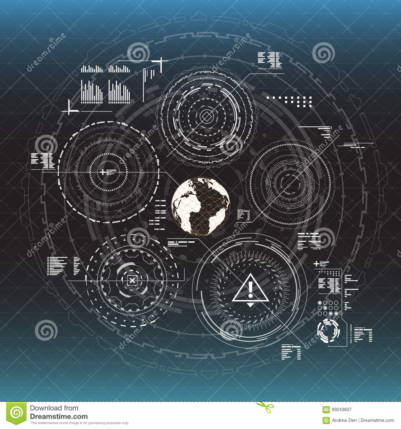 Infographic elements. Head-up display elements for the web and app. Futuristic user interface. Virtual graphic.