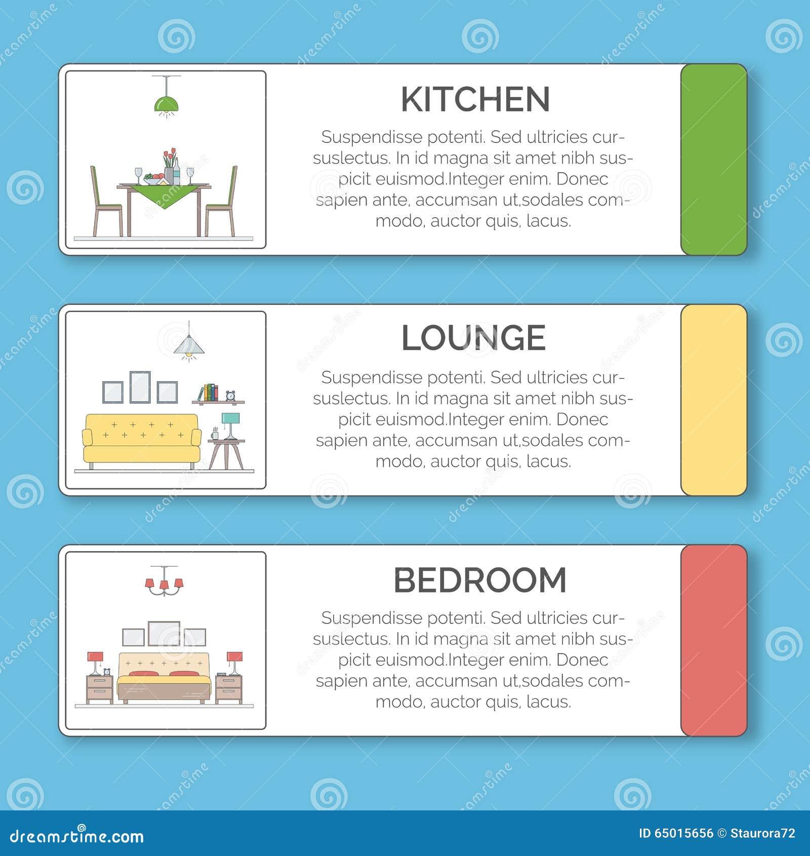 Living Room Interior Design Infographic Template Vector Illustration 91837900