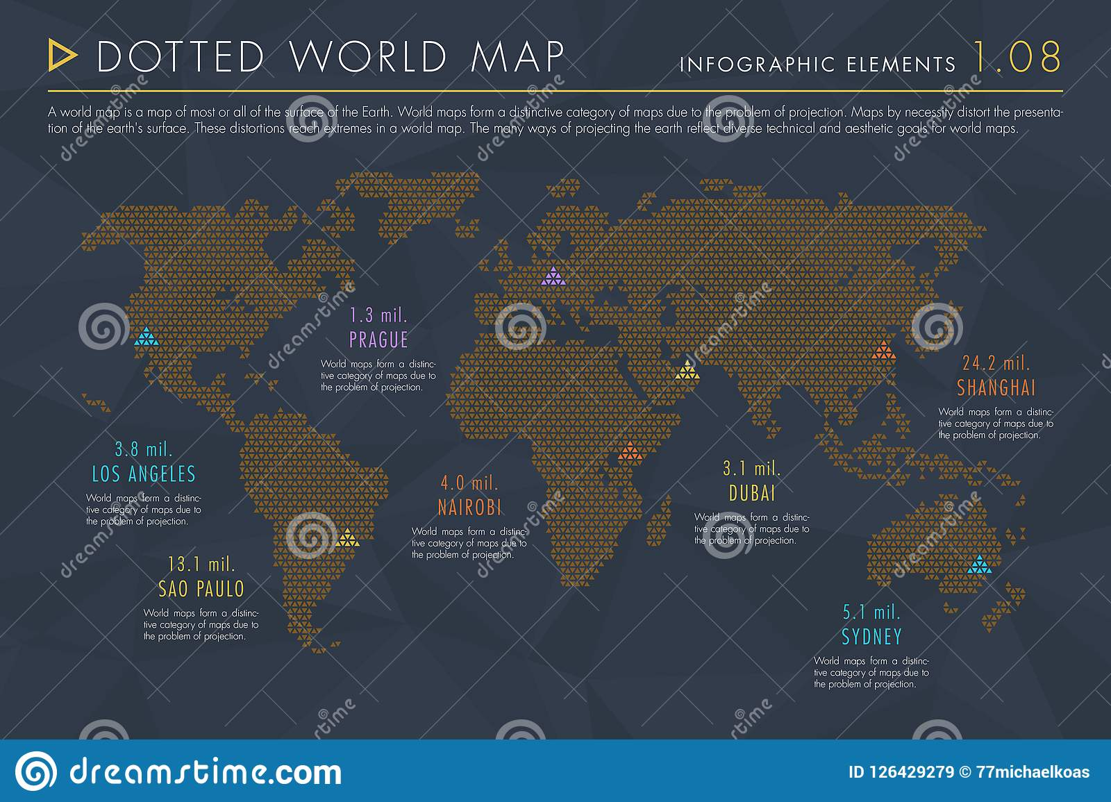Infographic Elements Vol 1 Dotted World Map Stock Vector