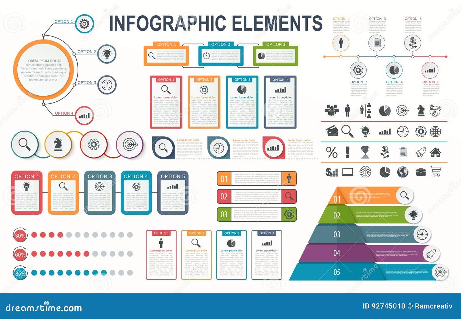 Infographic elementy, diagram, obieg układ, biznesowe krok opcje