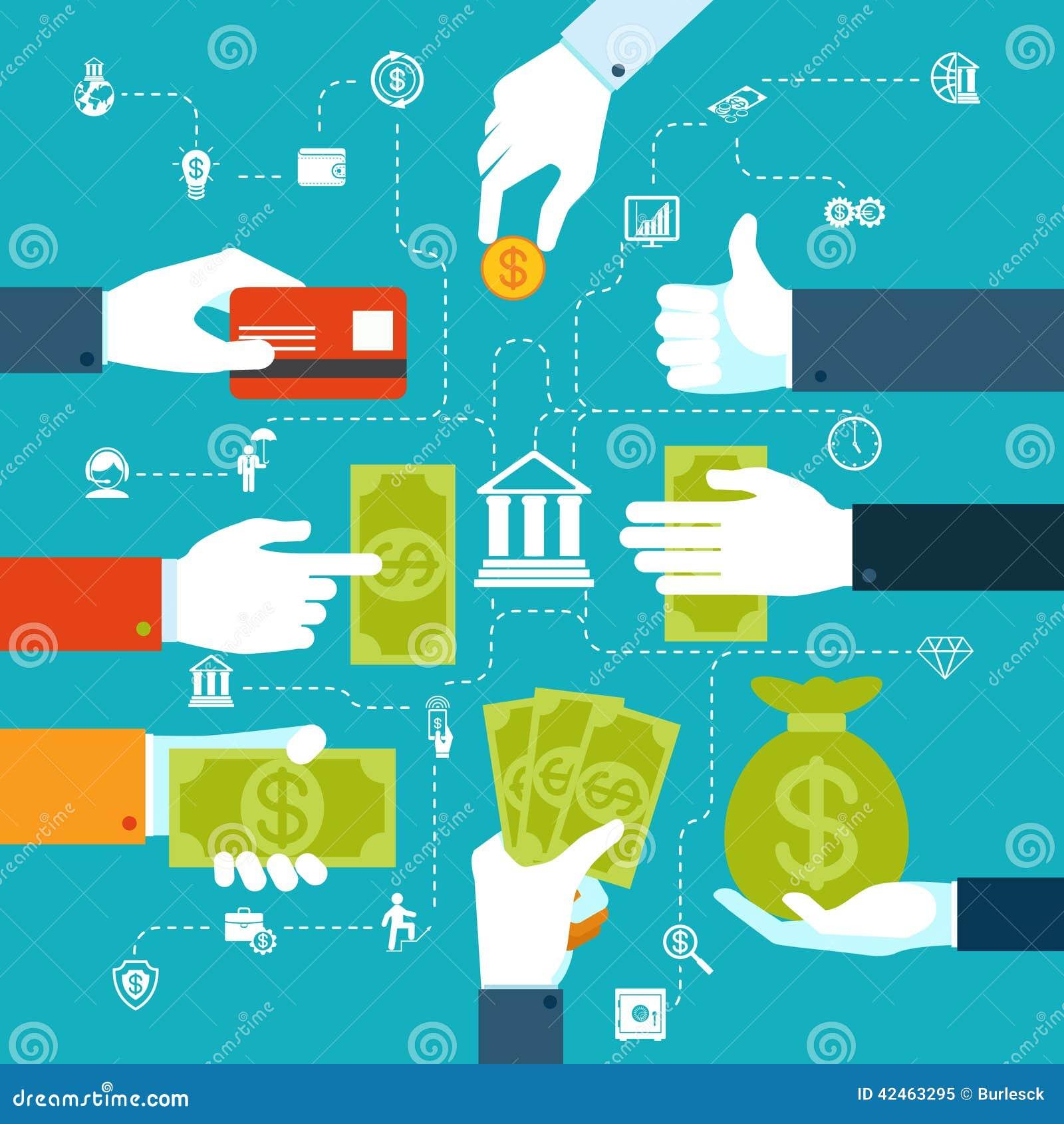 Infographic financieel stroomschema voor geldoverdracht