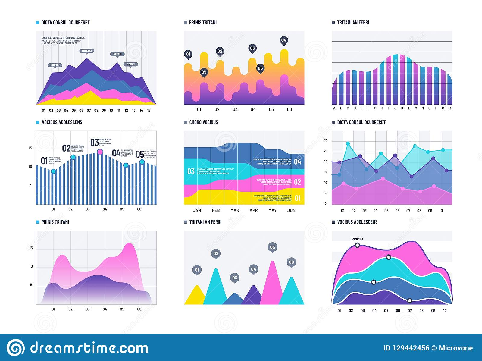 Infographic financiero Gráfico de barra del negocio y línea histograma, diagrama económico y carta de la acción Infographics del