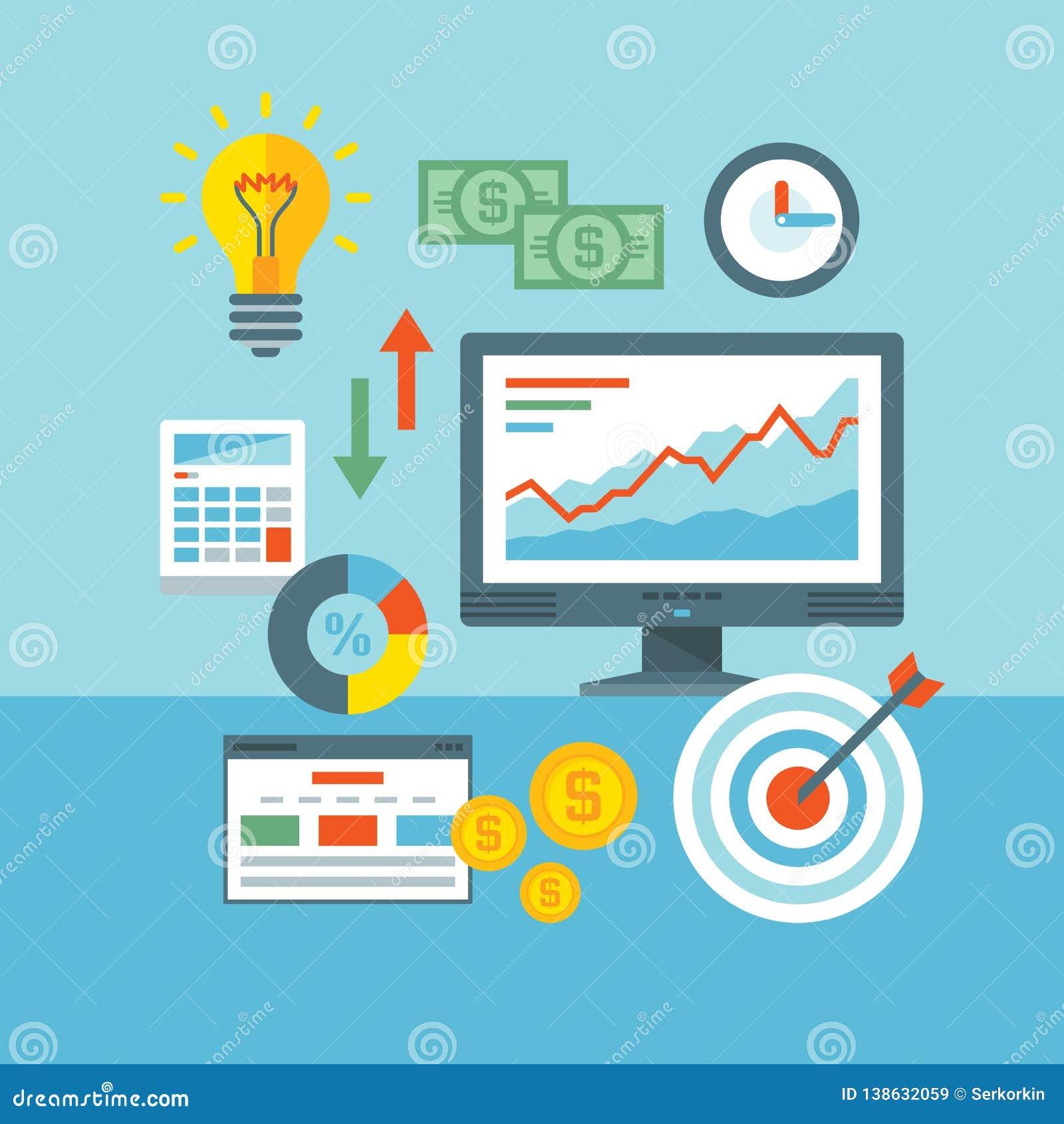 Infographic-Finanzkonzept-Vektorillustration in der flachen Entwurfsart Netz-Analytik-Informationen und Entwicklungs-Website-Stat