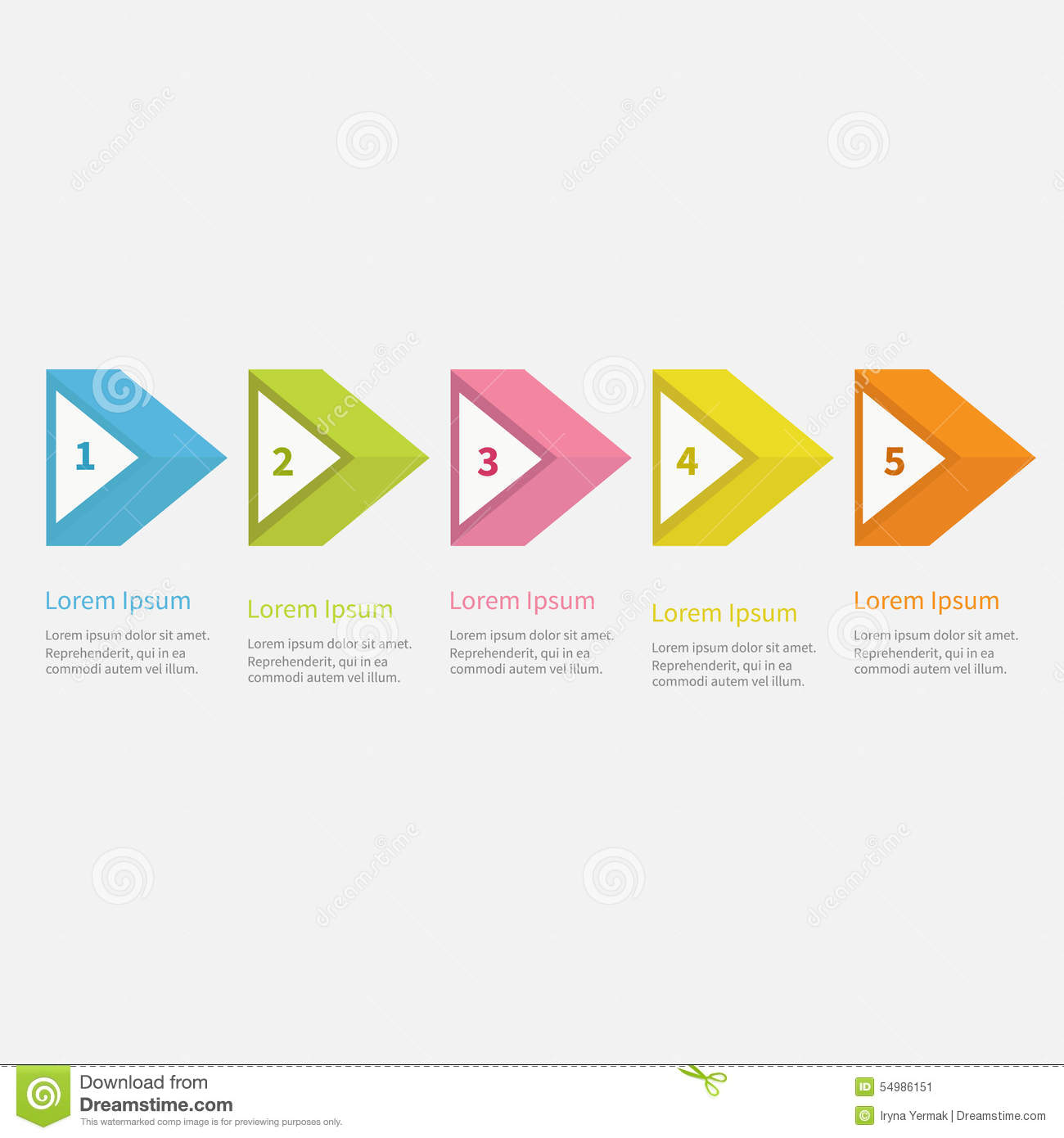 infographic five step with 3d triangle arrow and text