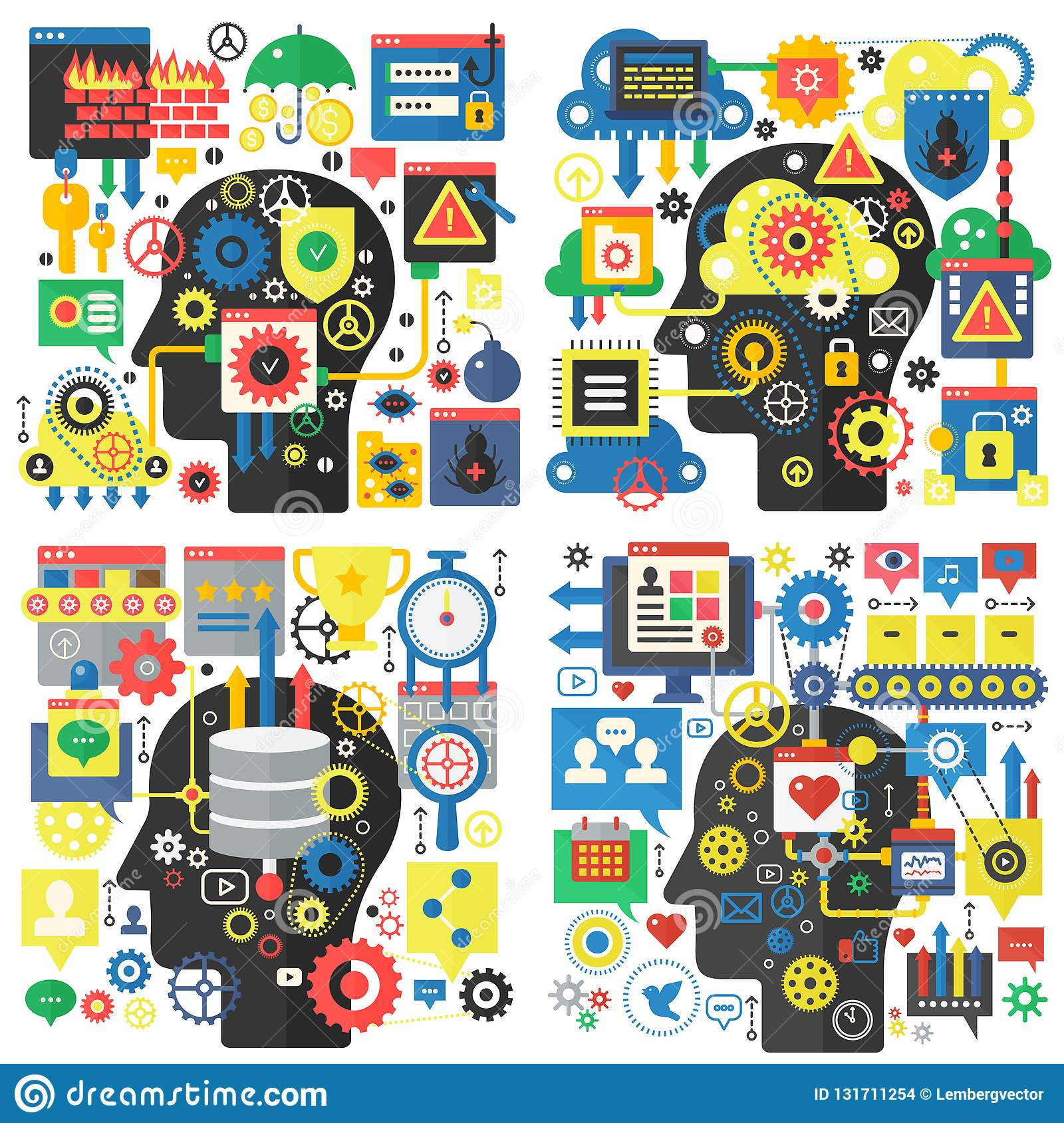 Infographic flat design head basic vector concept of creativity and research, social media, global network technology