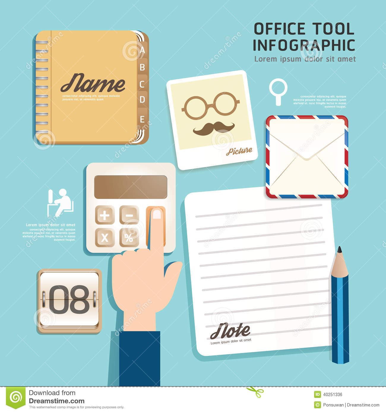 infographic flat design icons office tool concept vector