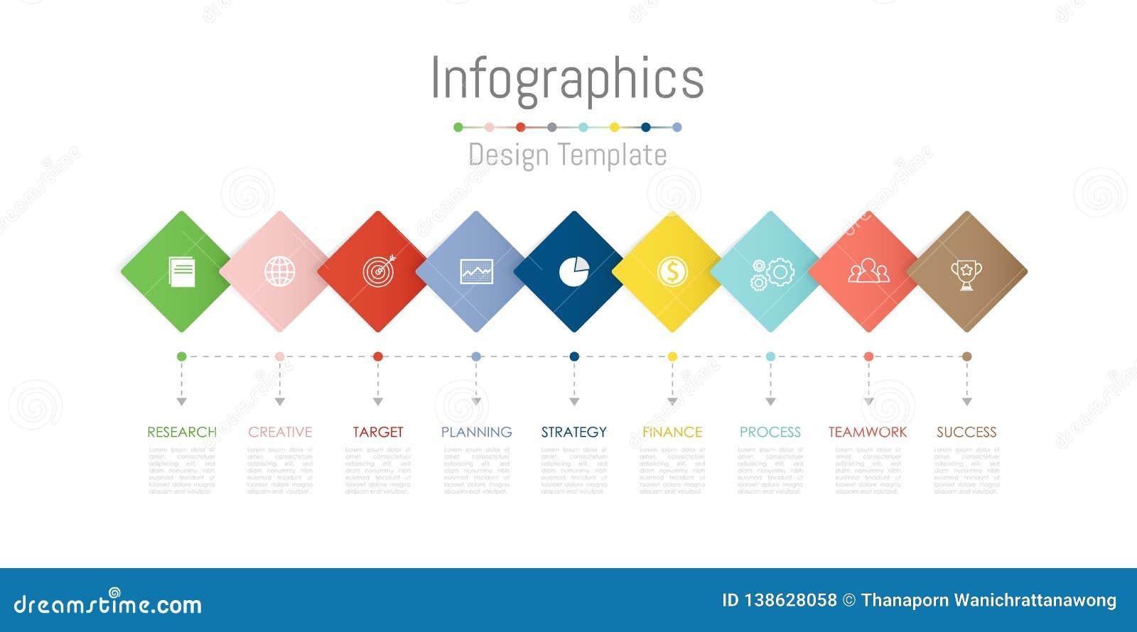 Infographic-Gestaltungselemente für Ihre kommerziellen Daten mit 9 Wahlen, Teilen, Schritten, Zeitachsen oder Prozessen Vektor