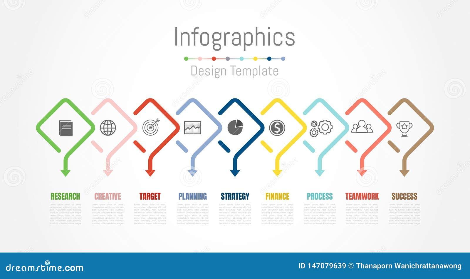Infographic-Gestaltungselemente f?r Ihre kommerziellen Daten mit 9 Wahlen, Teilen, Schritten, Zeitachsen oder Prozessen Vektor
