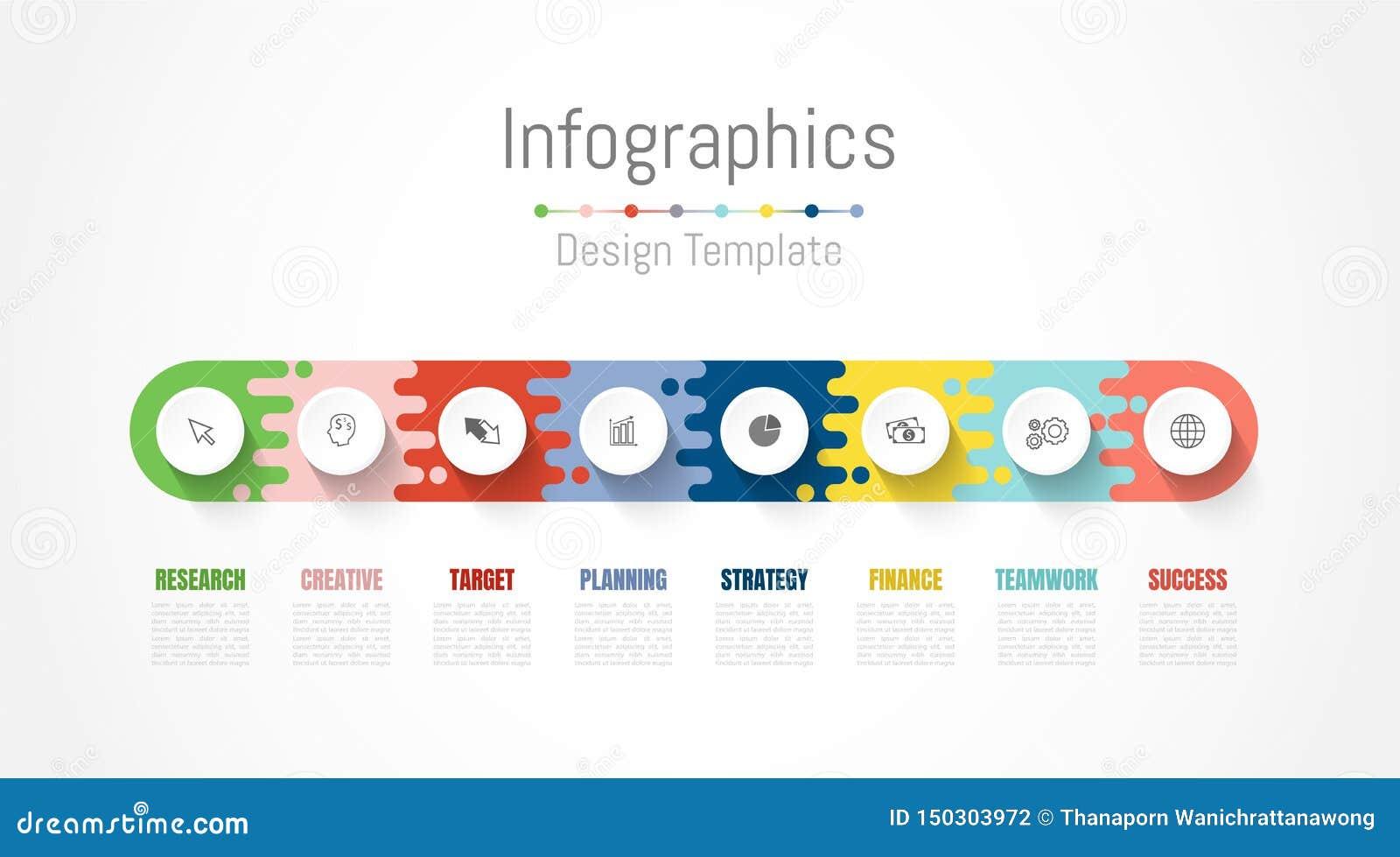 Infographic-Gestaltungselemente f?r Ihre kommerziellen Daten mit 8 Wahlen, Teilen, Schritten, Zeitachsen oder Prozessen Vektor