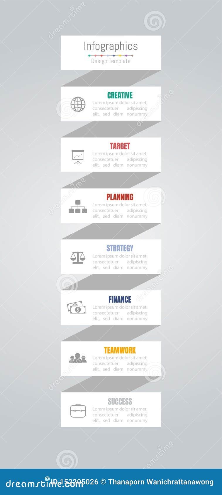 Infographic-Gestaltungselemente f?r Ihre kommerziellen Daten mit 7 Wahlen, Teilen, Schritten, Zeitachsen oder Prozessen Vektor