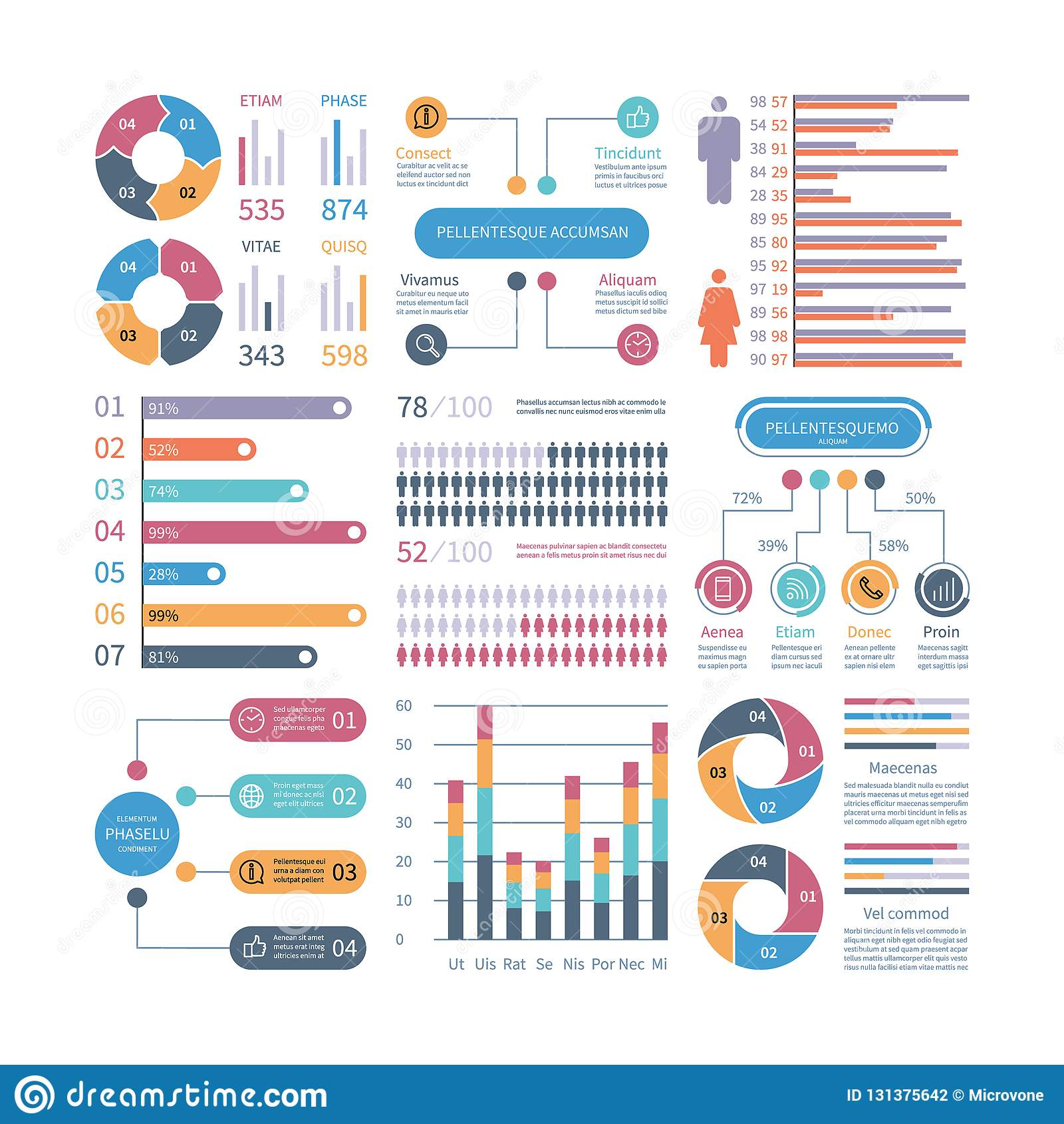Infographic graphs. Business chart process infochart diagram option flowchart with people icons. Vector financial