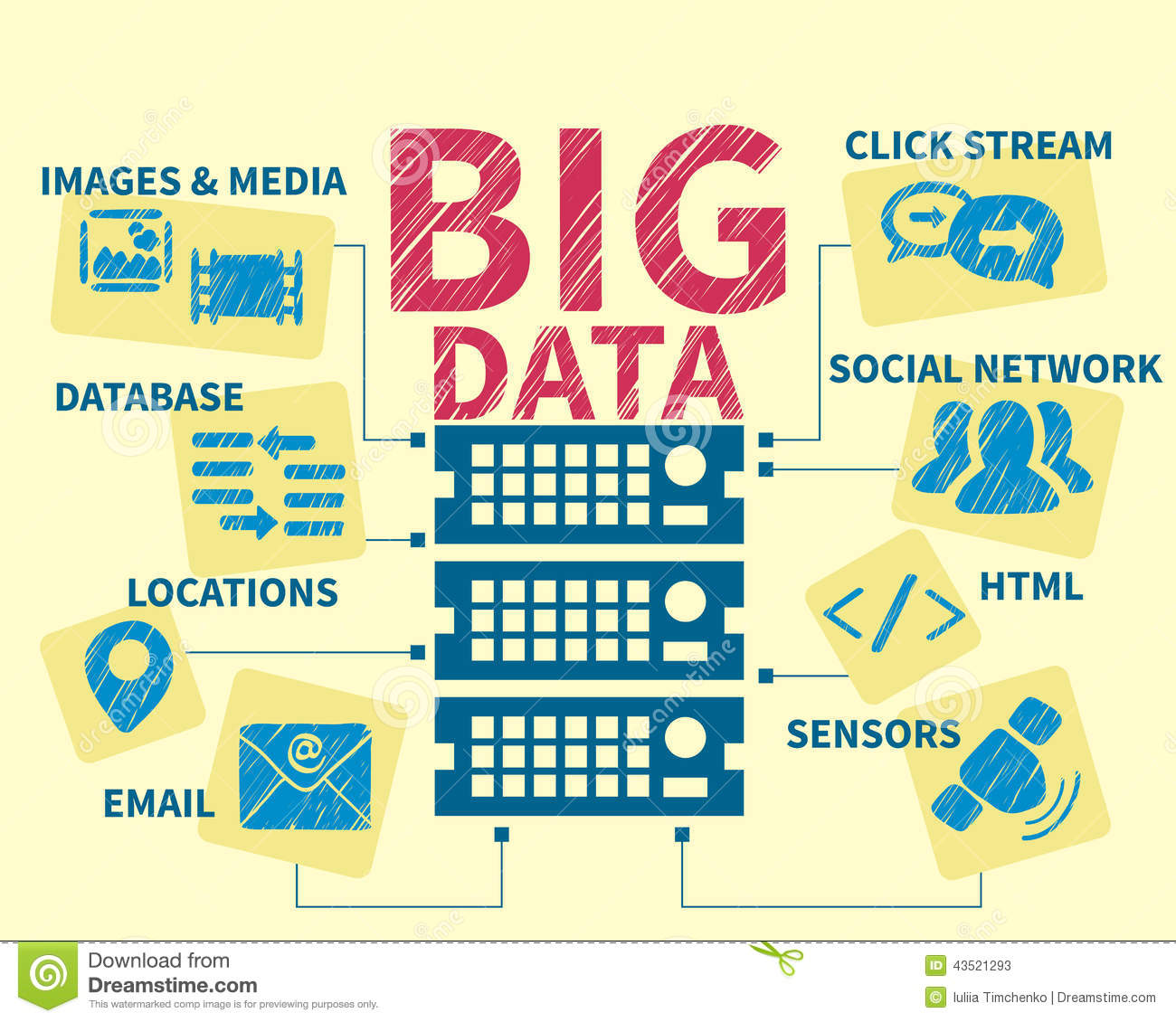 System Of Big Data Systems : Infographic handrawn illustration of big data stock vector