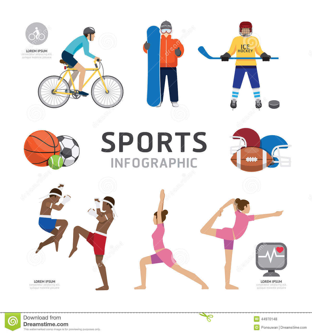sports infographics templates - infographic health sport and wellness flat icons template