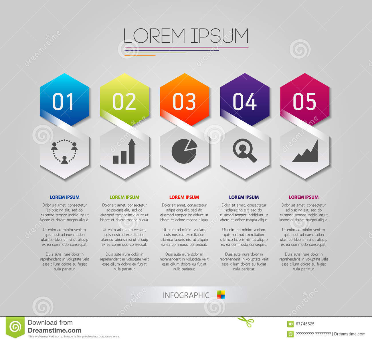 Infographic Honeycomb Structure Elements With Icons Set On The Grey ...