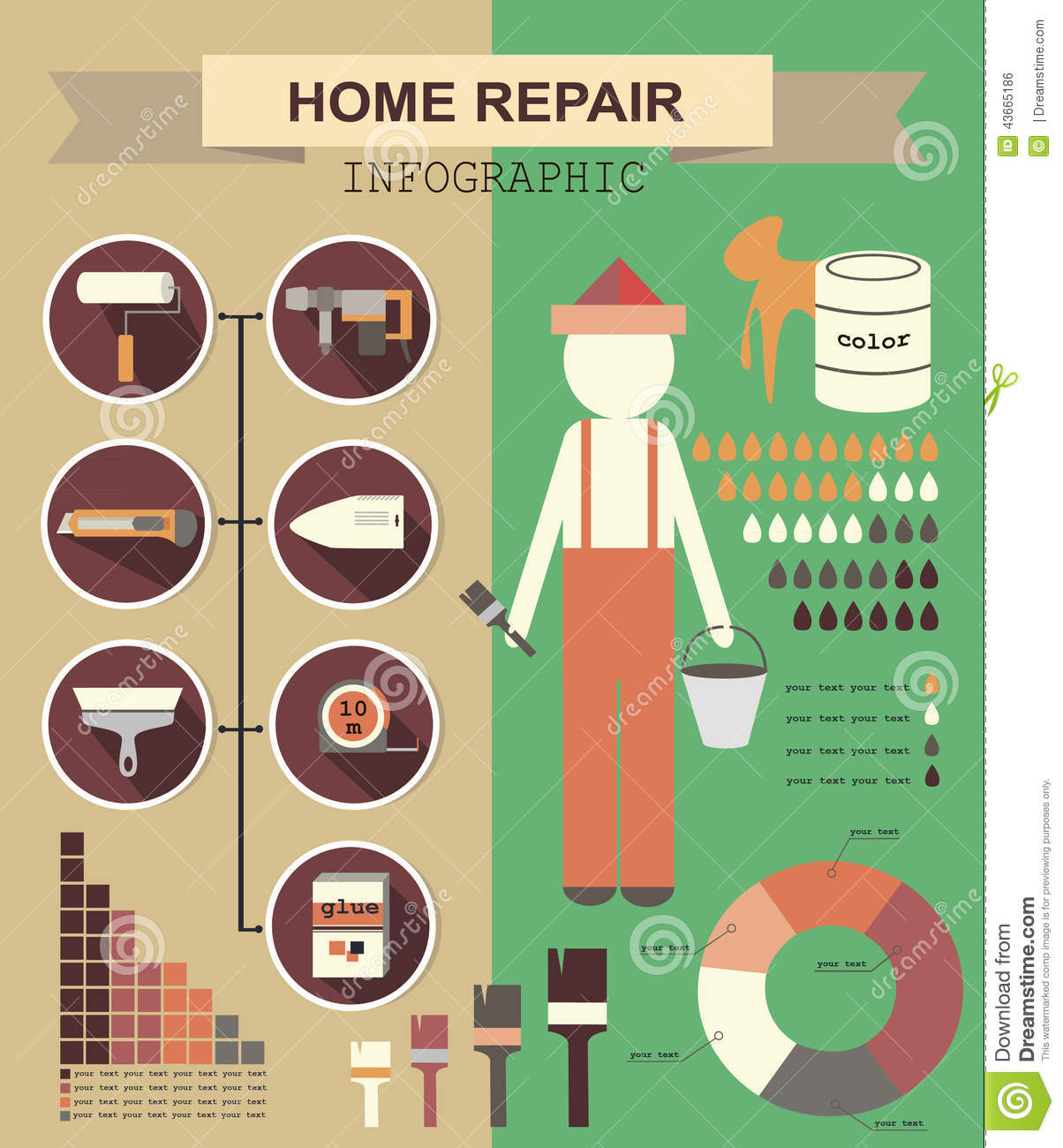 Infographic House Remodel Stock Vector Image 43665186