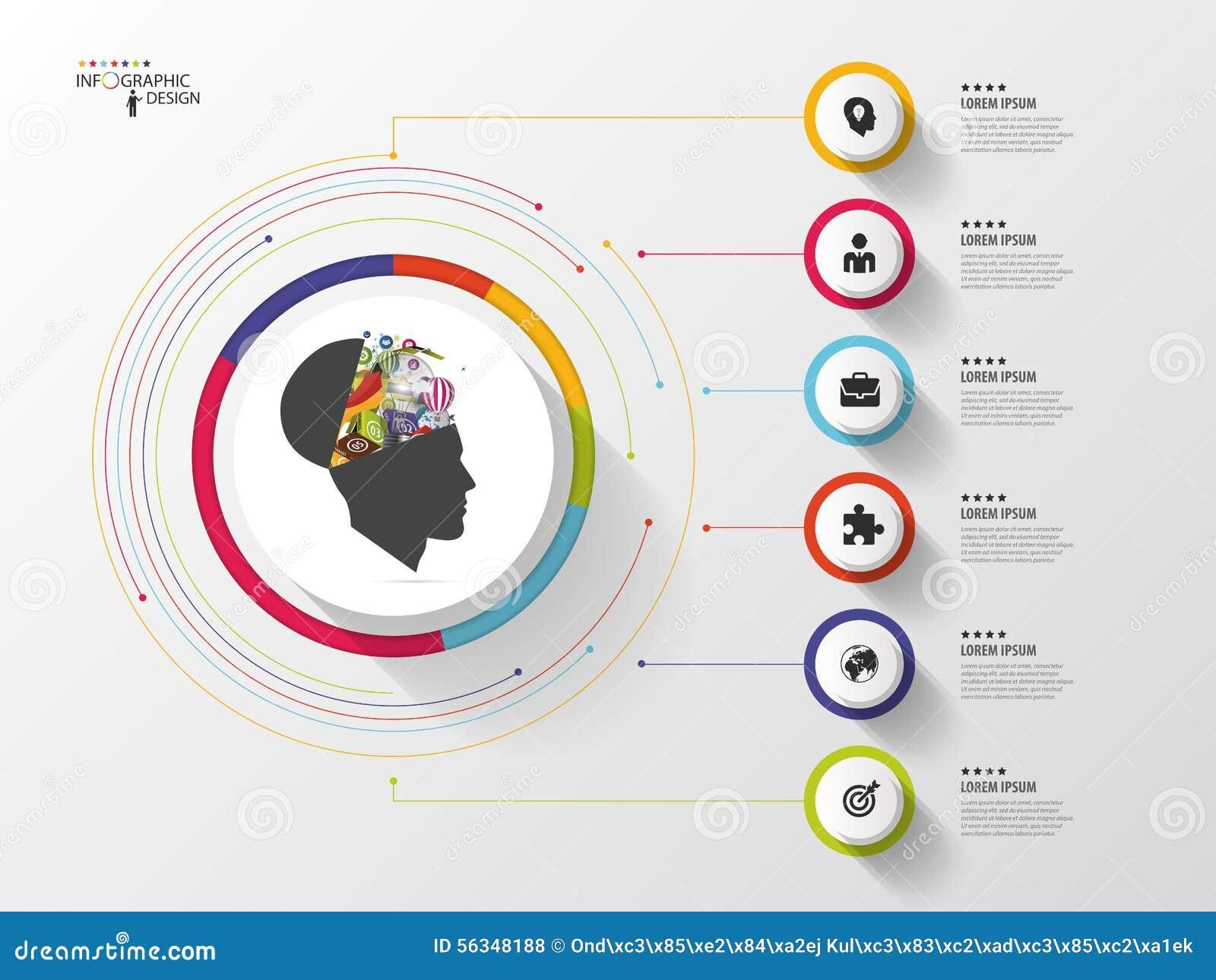 Infographic Idérikt huvud Färgrik cirkel med symboler vektor