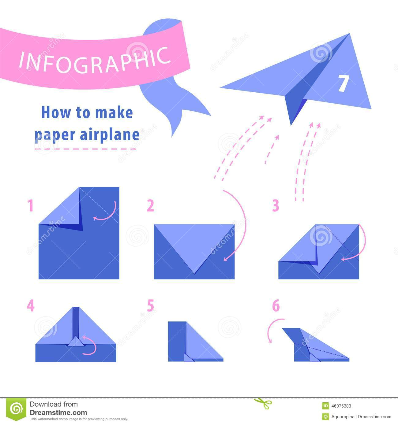 Infographic instructions to make paper airplane stock for How to make a paper design