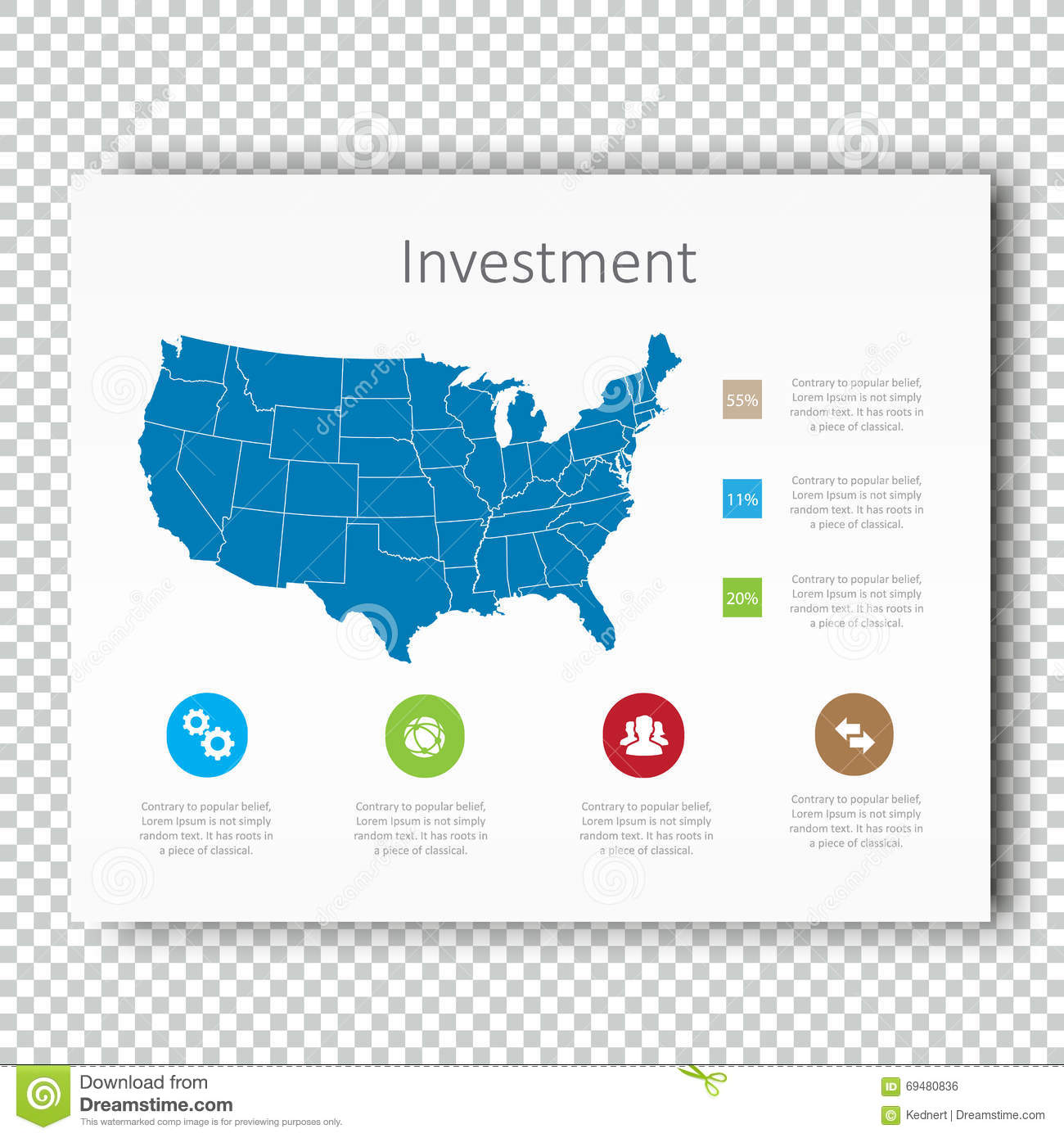 Royalty Free Stock Photo Business Infographic Investment Layout Map Presentation Template Usa